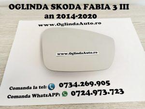 Geam sticla oglinda dreapta partea pasagerului pentru Skoda Fabia 3 III cu incalzire, cod 2128.34.374 sau 212834374 sau 2128 34 374 fabricata in anul 2014, 2015, 2016, 2017, 2018, 2019 si 2020.