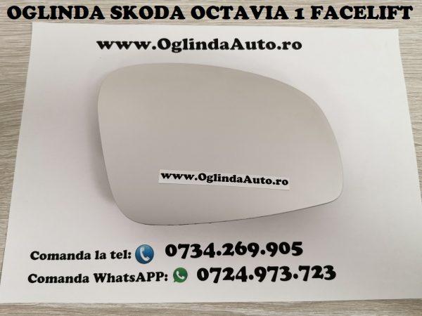 Geam sticla oglinda mai mare dreapta partea pasagerului cu incalzire Skoda Octavia 1 I Tour Facelift an fabricatie 2007, 2008, 2009, 2010 si 2011. Modelul mai mare.