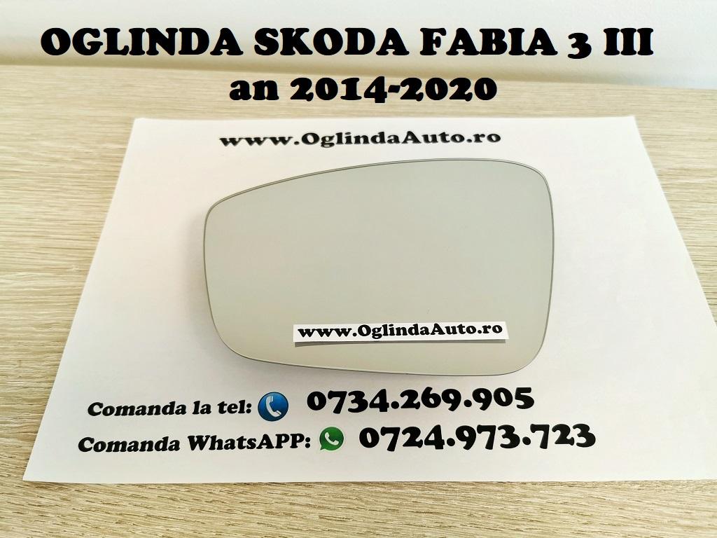 Geam sticla oglinda stanga partea soferului pentru Skoda Fabia 3 III cu incalzire, cod 2128.34.373 sau 212834373 sau 2128 34 373 fabricata in anul 2014, 2015, 2016, 2017, 2018, 2019 si 2020.