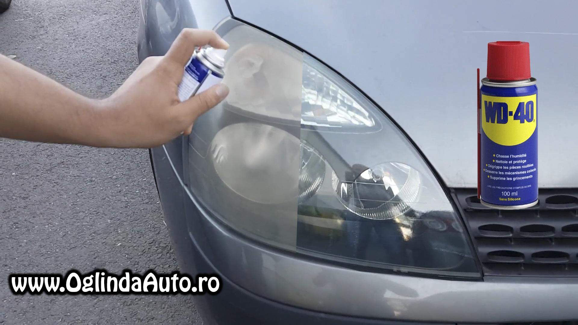 Scapade farurile matuite la masina ta cu o simpla carpa si spray-ul WD-40. Aplica spray pe far si freacal cu o carpa vedeti in clipul de mai jos.
