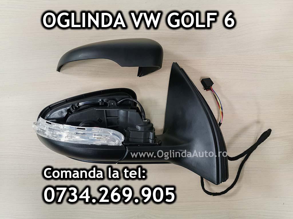 Oglinda completa dreapta partea pasagerului pentru VW Golf 6 VI cu reglaj electric si incalzire / degivrare / dezaburire pentru tip caroserie hatchback / scurta an fabricatie 2008, 2009, 2010, 2011, 2012, 2013, 2014.