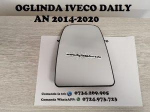 Geam sticla oglinda mare partea de sus stanga sofer cu incalzire pentru Iveco Daily 6 VI modelul nou cu semnal lungit pe carcasa fabricat in anul 2014, 2015, 2016, 2017, 2018, 2019 si 2020.