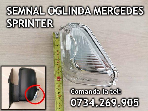 Lampa semnalizare / semnal situat in coltul carcasei de pe oglinda dreapta partea pasagerului pentru Mercedes Sprinter an fabrica tie 2006, 2007, 2008, 2009, 2010, 2011, 2012, 2013, 2014, 2015, 2017 si 2018.