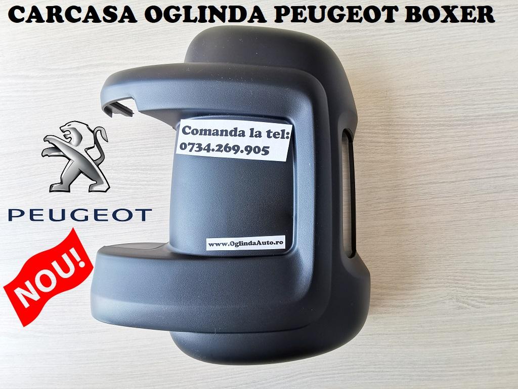 Capac carcasa oglinda Peugeot Boxer stanga spate neagra partea soferului cu locas decupat pentru semnalizare an fabrica tie 2006, 2007, 2008, 2009, 2010, 2011, 2012, 2013, 2014, 2015, 2017, 2018, 2019 si 2020.
