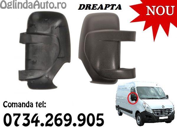 Carcasa capac oglinda Renault Master 3 dreapta neagra 2010-2020 cu lampa semnal in ea
